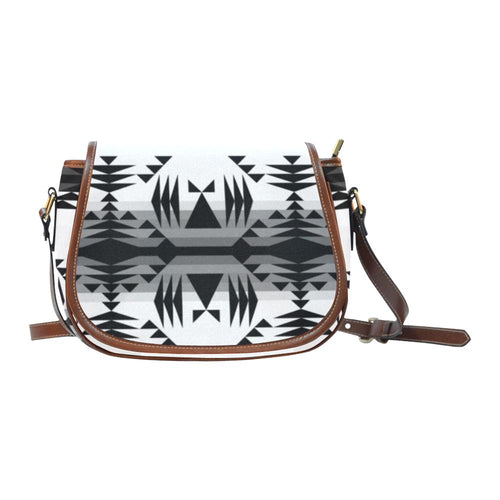 Between the Mountains White and Black Saddle Bag/Small (Model 1649) Full Customization Saddle Bag/Small (Full Customization) e-joyer