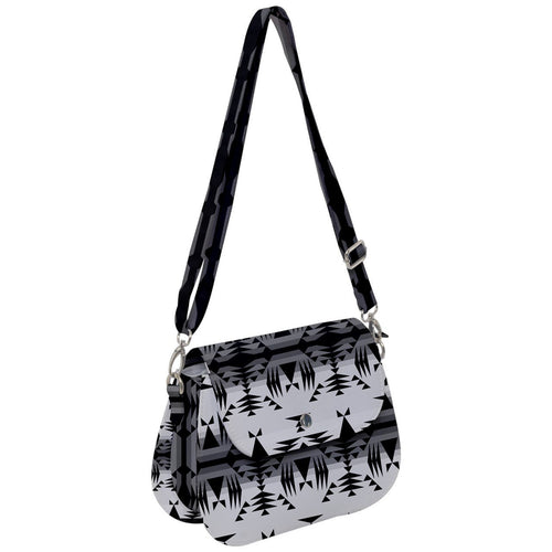 Between The Mountains White and Black Saddle Handbag cross-body-handbags 49 Dzine