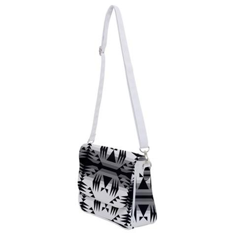 Between the Mountains White and Black Shoulder Bag with Back Zipper 49 Dzine