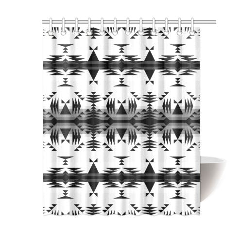 Between the Mountains White and Black Shower Curtain 60
