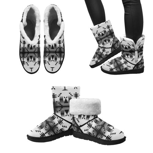 Between the Mountains White and Black Unisex Single Button Snow Boots (Model 051) Unisex Single Button Snow Boots (051) e-joyer