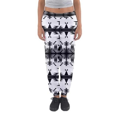 Between the Mountains White and Black Women's Jogger Sweatpants FullShirt 49 Dzine