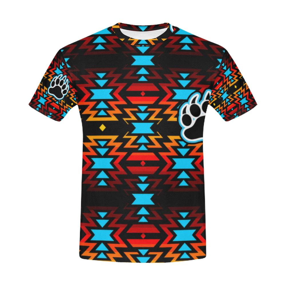 Big Pattern Fire Colors and Sky Bear Paw All Over Print T-Shirt for Men (USA Size) (Model T40) All Over Print T-Shirt for Men e-joyer