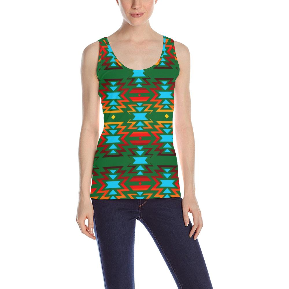 Big Pattern Fire Colors and Sky green All Over Print Tank Top for Women (Model T43) All Over Print Tank Top for Women (T43) e-joyer