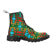 Big Pattern Fire Colors and Sky green Boots for Men (Black) (Model 1203H) Martin Boots for Men (Black) (1203H) e-joyer