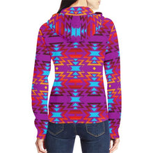 Big Pattern Fire Colors and Sky Moon Shadow All Over Print Full Zip Hoodie for Women (Model H14) All Over Print Full Zip Hoodie for Women (H14) e-joyer