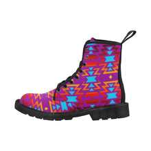 Big Pattern Fire Colors and Sky Moon Shadow Boots for Men (Black) (Model 1203H) Martin Boots for Men (Black) (1203H) e-joyer