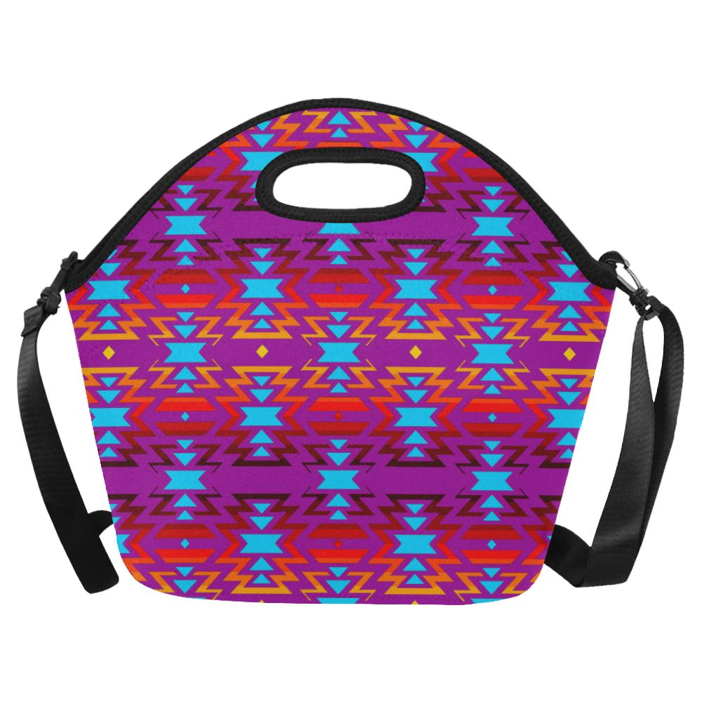 Big Pattern Fire Colors and Sky Moon Shadow Large Insulated Neoprene Lunch Bag That Replaces Your Purse (Model 1669) Neoprene Lunch Bag/Large (1669) e-joyer