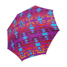 Big Pattern Fire Colors and Sky Moon Shadow Semi-Automatic Foldable Umbrella Semi-Automatic Foldable Umbrella e-joyer