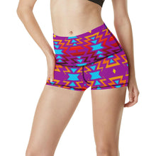 Big Pattern Fire Colors and Sky Moon Shadow Women's All Over Print Yoga Shorts (Model L17) Women's All Over Print Yoga Shorts (L17) e-joyer