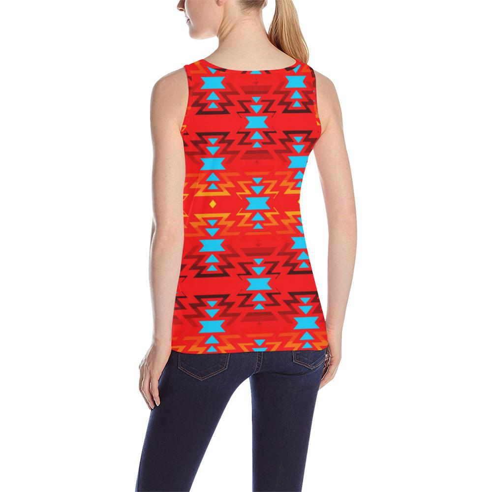 Big Pattern Fire Colors and Sky Sierra All Over Print Tank Top for Women (Model T43) All Over Print Tank Top for Women (T43) e-joyer
