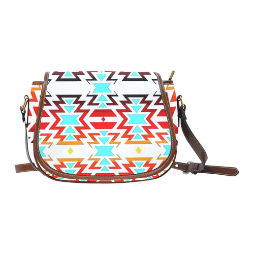 Big Pattern Fire Colors and Sky white final Saddle Bag/Small (Model 1649) Full Customization Saddle Bag/Small (Full Customization) e-joyer