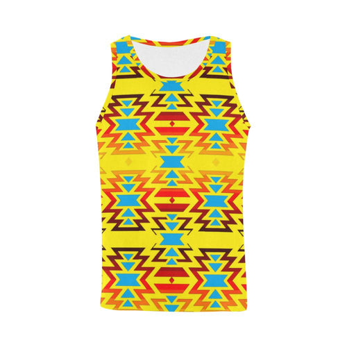 Big Pattern Fire Colors and Sky Yellow All Over Print Tank Top for Men (Model T43) All Over Print Tank Top for Men e-joyer