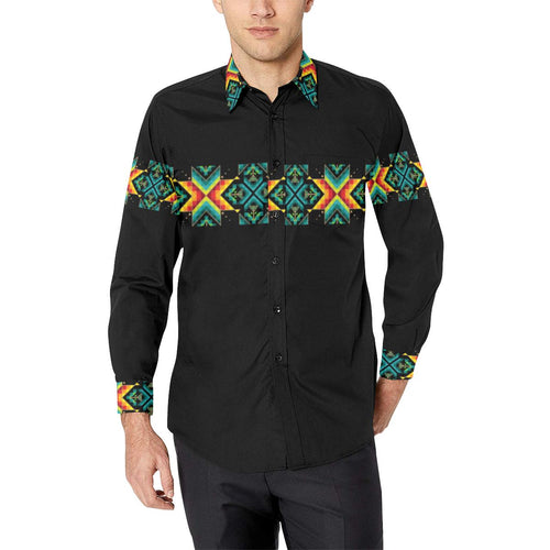 Black Blanket Strip-1 Men's All Over Print Casual Dress Shirt (Model T61) Men's Dress Shirt (T61) e-joyer