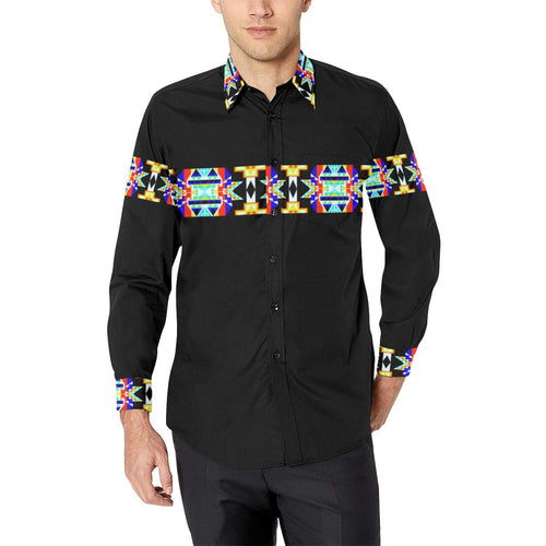 Black Blanket Strip II-1 Men's All Over Print Casual Dress Shirt (Model T61) Men's Dress Shirt (T61) e-joyer