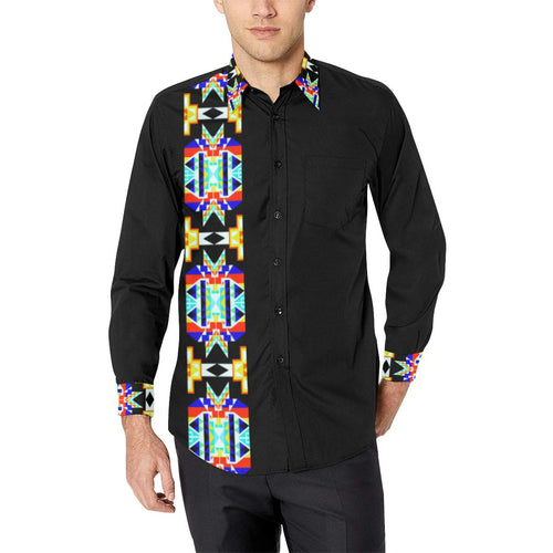 Black Blanket Strip II Men's All Over Print Casual Dress Shirt (Model T61) Men's Dress Shirt (T61) e-joyer