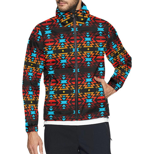 Black Fire and Sky All Over Print Windbreaker for Men (Model H23) All Over Print Windbreaker for Men (H23) e-joyer