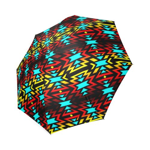 Black Fire and Sky Foldable Umbrella Foldable Umbrella e-joyer