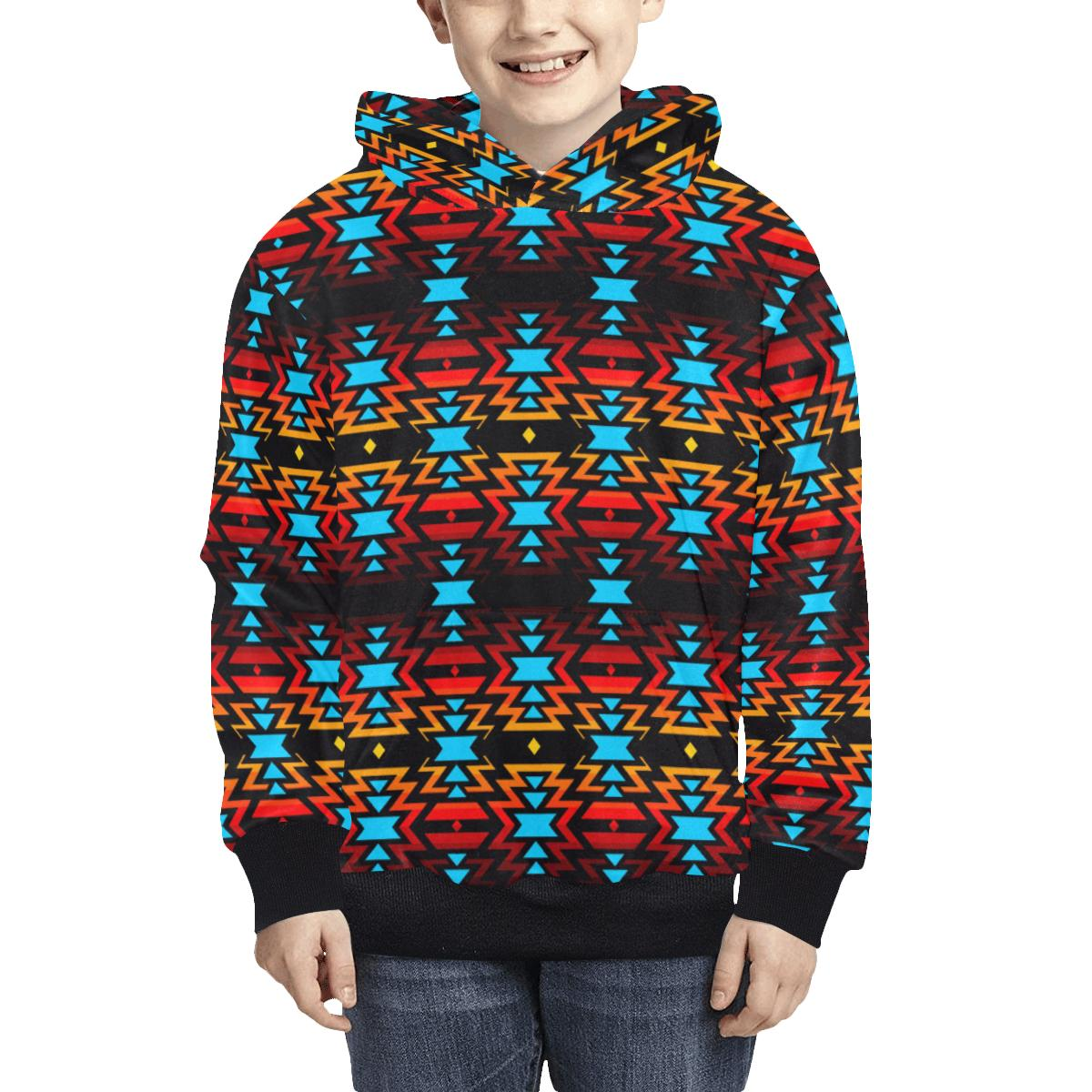 Black Fire and Sky Kids' All Over Print Hoodie (Model H38) Kids' AOP Hoodie (H38) e-joyer