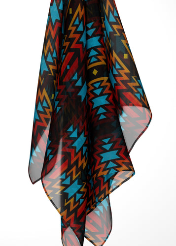 Black Fire and Sky Large Square Chiffon Scarf fashion-scarves 49 Dzine