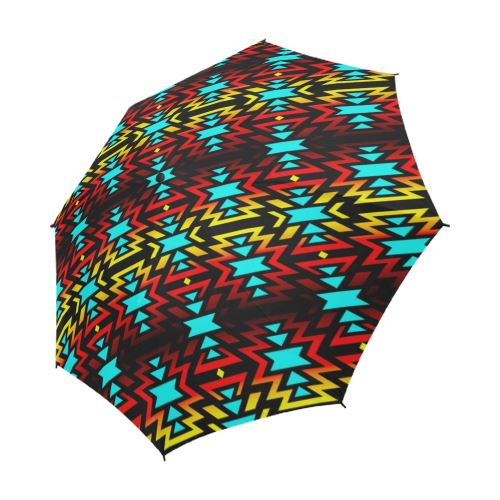 Black Fire and Sky Semi-Automatic Foldable Umbrella Semi-Automatic Foldable Umbrella e-joyer