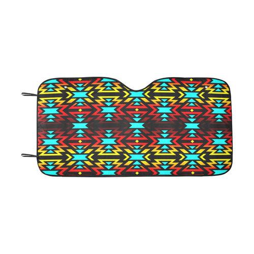 Black Fire and Turquoise Car Sun Shade 55