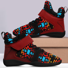 Black Fire and Turquoise Ipottaa Basketball / Sport High Top Shoes - Black Sole 49 Dzine