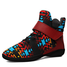 Black Fire and Turquoise Ipottaa Basketball / Sport High Top Shoes - Black Sole 49 Dzine US Men 7 / EUR 40 Black Sole with Dark Red Strap