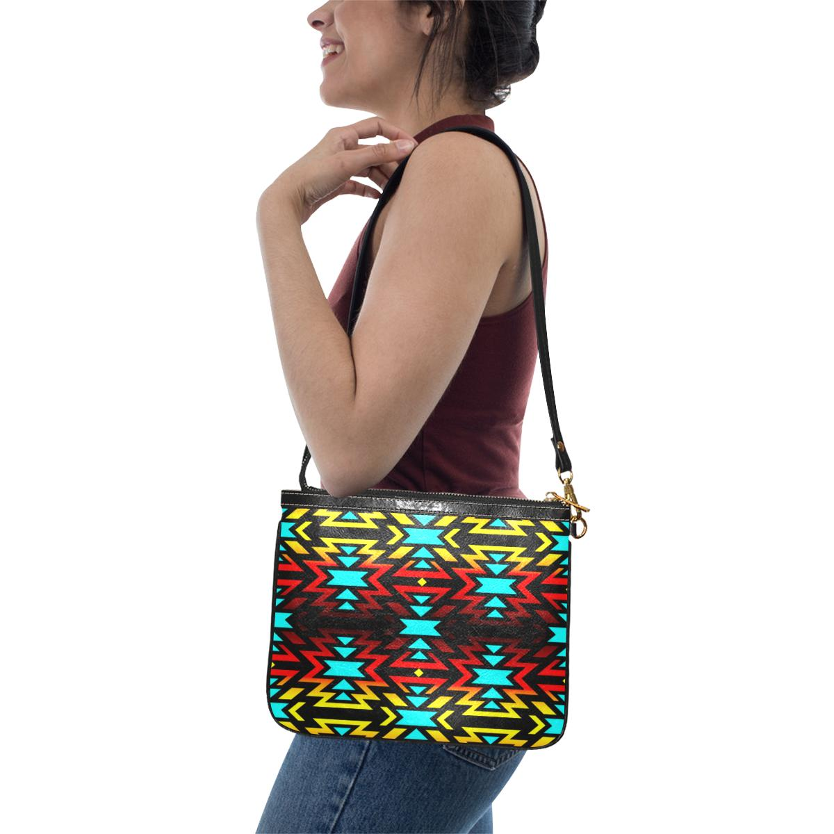 Black Fire and Turquoise Small Shoulder Bag (Model 1710) Small Shoulder Bag (1710) e-joyer