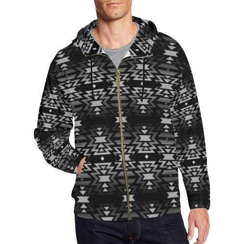 Black Fire Black and Gray All Over Print Full Zip Hoodie for Men/Large Size (Model H14) All Over Print Full Zip Hoodie for Men/Large (H14) e-joyer