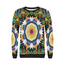 Black Fire Star All Over Print Crewneck Sweatshirt for Women (Model H18) Crewneck Sweatshirt for Women (H18) e-joyer