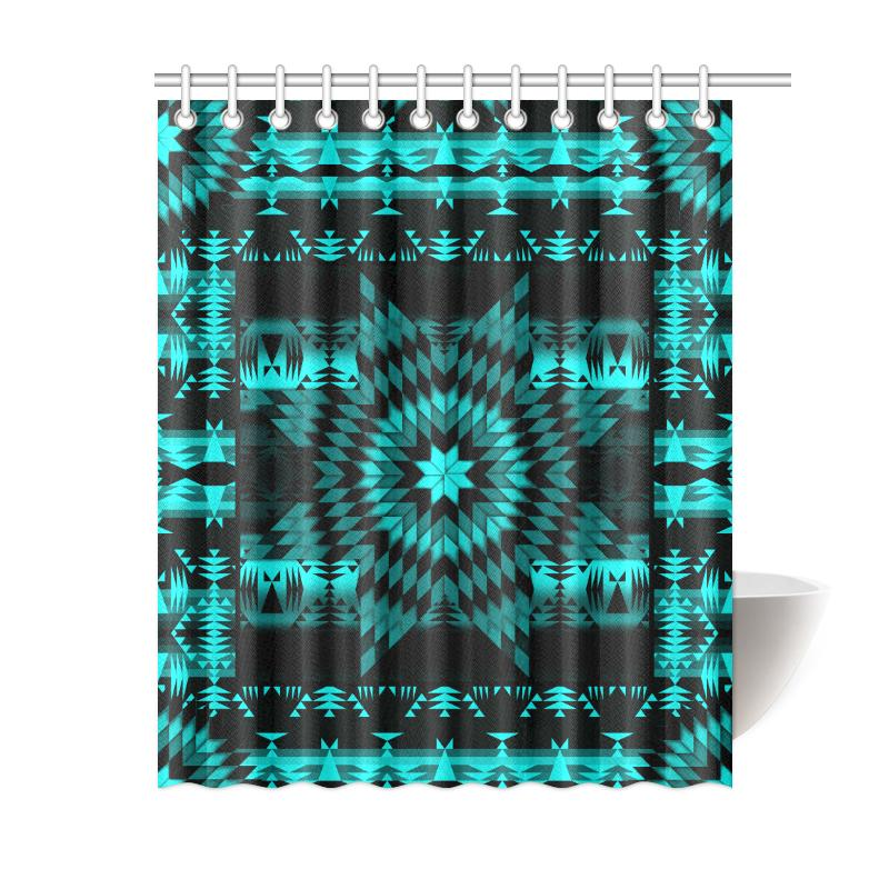 Black Sky Star Quilt Shower Curtain 60