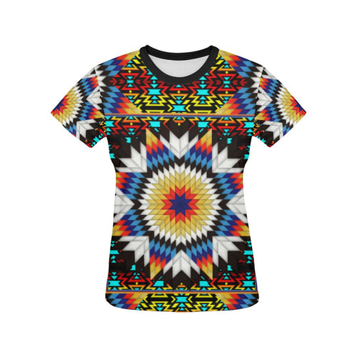 Blackfire and Turquoise Star All Over Print T-shirt for Women/Large Size (USA Size) (Model T40) All Over Print T-Shirt for Women/Large (T40) e-joyer