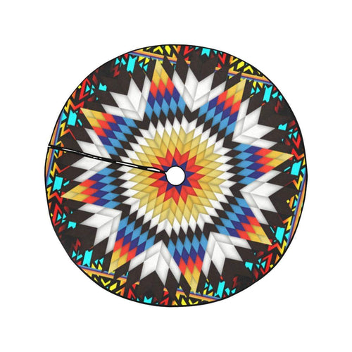 Blackfire and Turquoise Star Christmas Tree Skirt 47