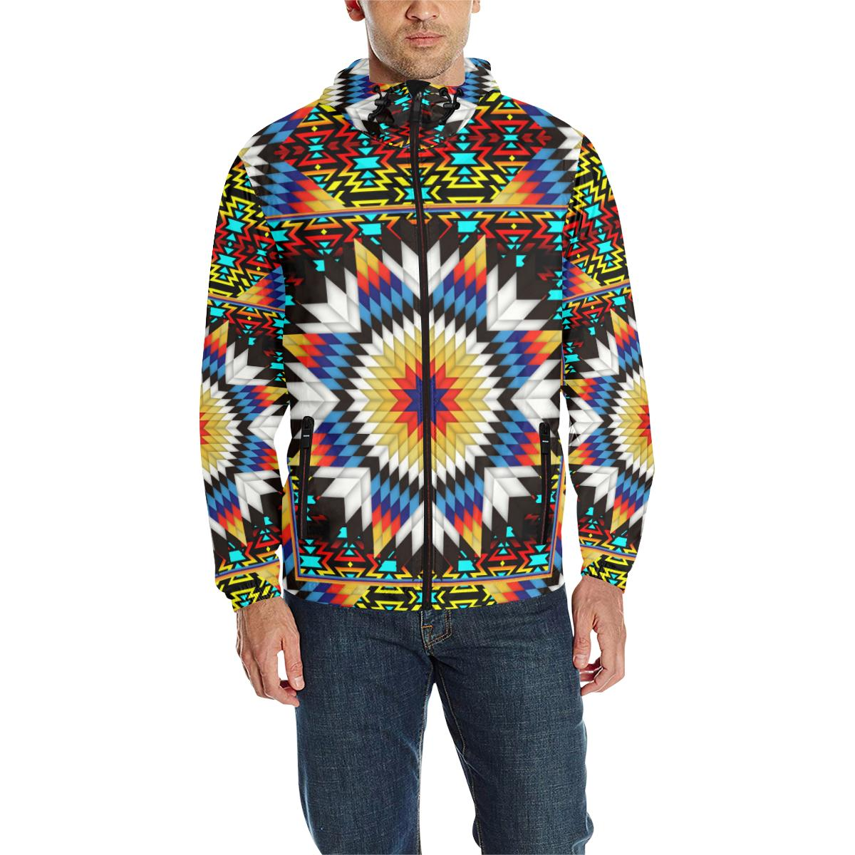 Blackfire and Turquoise Star Unisex Quilted Coat All Over Print Quilted Windbreaker for Men (H35) e-joyer