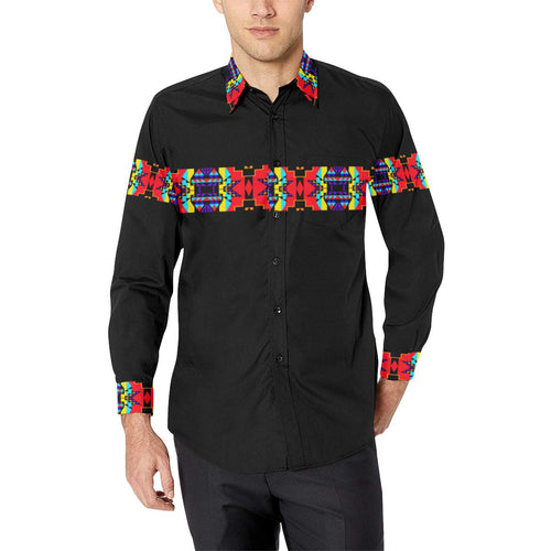 Blanket Strip Black III-1 Men's All Over Print Casual Dress Shirt (Model T61) Men's Dress Shirt (T61) e-joyer