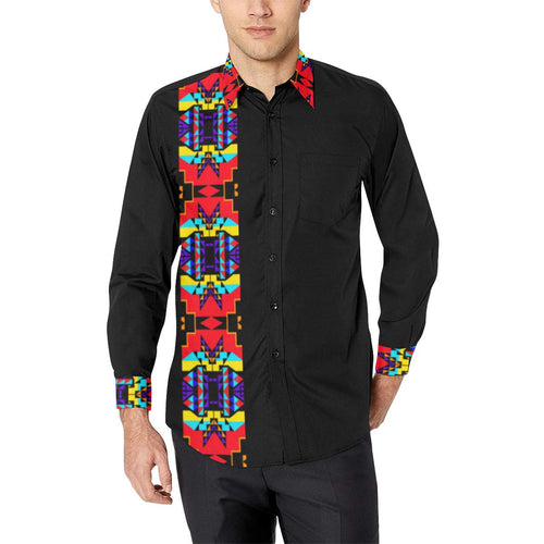 Blanket Strip Black III Men's All Over Print Casual Dress Shirt (Model T61) Men's Dress Shirt (T61) e-joyer