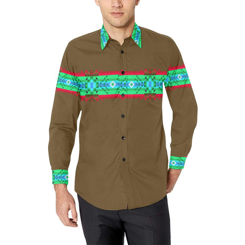 Blanket Strip Earth-1 Men's All Over Print Casual Dress Shirt (Model T61) Men's Dress Shirt (T61) e-joyer