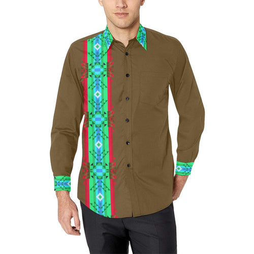 Blanket Strip Earth Men's All Over Print Casual Dress Shirt (Model T61) Men's Dress Shirt (T61) e-joyer