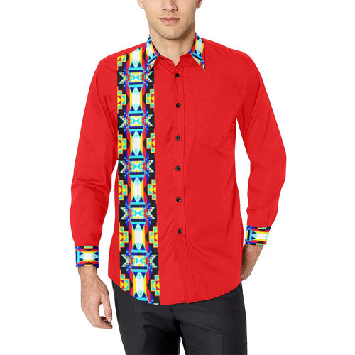 Blanket Strip Red Men's All Over Print Casual Dress Shirt (Model T61) Men's Dress Shirt (T61) e-joyer