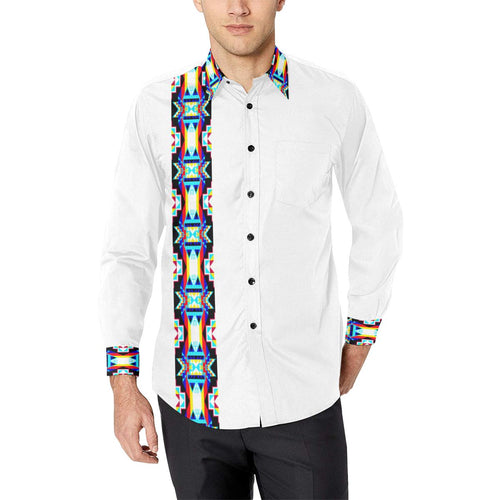 Blanket Strip White II Men's All Over Print Casual Dress Shirt (Model T61) Men's Dress Shirt (T61) e-joyer