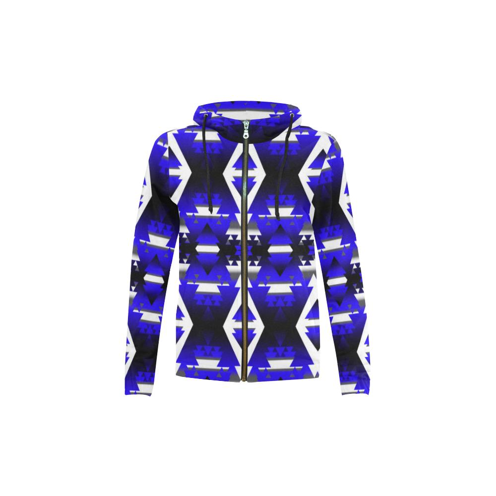 Blue Winter Camp All Over Print Full Zip Hoodie for Kid (Model H14) All Over Print Full Zip Hoodie for Kid (H14) e-joyer