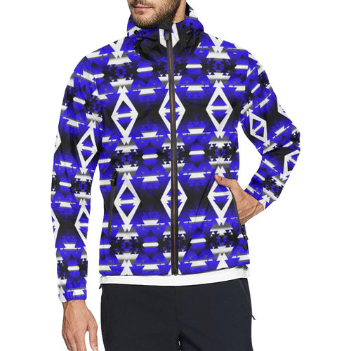 Blue Winter Camp All Over Print Windbreaker for Men (Model H23) All Over Print Windbreaker for Men (H23) e-joyer