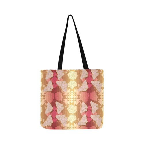Butterfly and Roses on Geometric Reusable Shopping Bag Model 1660 (Two sides) Shopping Tote Bag (1660) e-joyer
