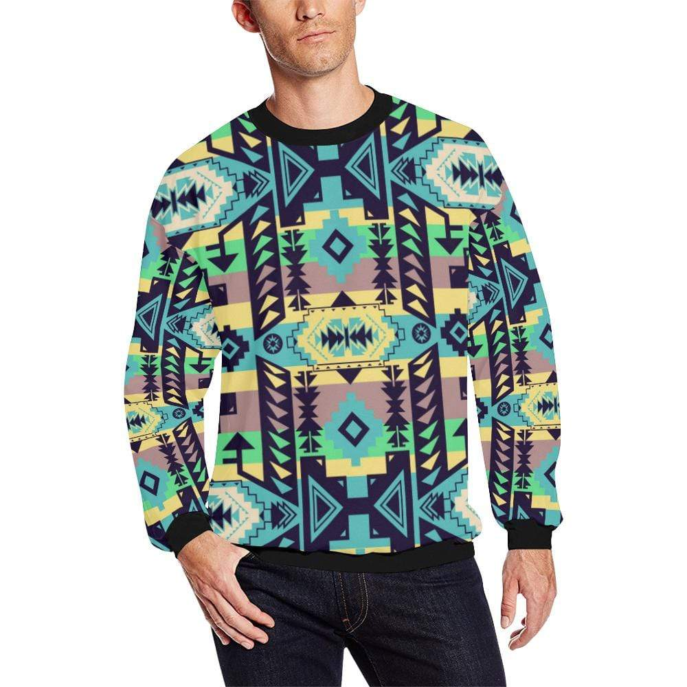 Chiefs Mountain 100 All Over Print Crewneck Sweatshirt for Men/Large (Model H18) Crewneck Sweatshirt for Men/Large (H18) e-joyer