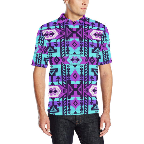 Chiefs Mountain Moon Shadow Men's All Over Print Polo Shirt (Model T55) Men's Polo Shirt (Model T55) e-joyer