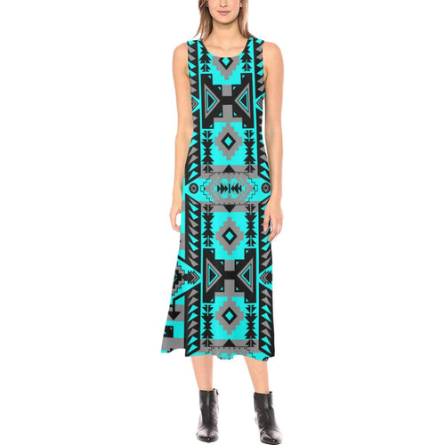 Chiefs Mountain Sky Phaedra Sleeveless Open Fork Long Dress (Model D08) Phaedra Sleeveless Open Fork Long Dress (D08) e-joyer