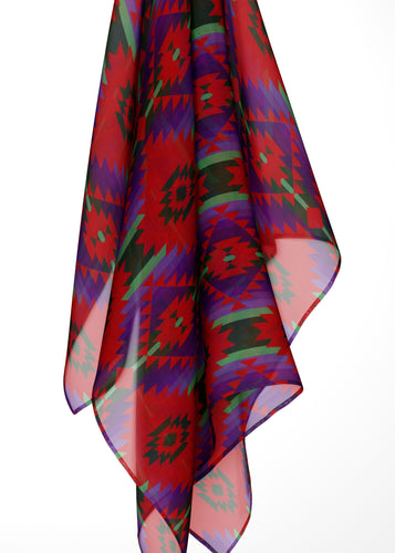 Cree Confederacy Chicken Dance Large Square Chiffon Scarf fashion-scarves 49 Dzine