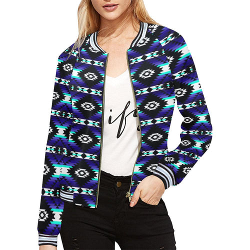 Cree Confederacy Midnight All Over Print Bomber Jacket for Women (Model H21) All Over Print Bomber Jacket for Women (H21) e-joyer