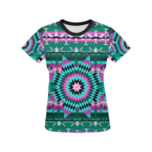 Deep Lake and Sunset Star All Over Print T-shirt for Women/Large Size (USA Size) (Model T40) All Over Print T-Shirt for Women/Large (T40) e-joyer